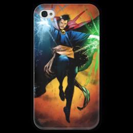 """Чехол для iPhone 4 глянцевый, с полной запечаткой """"Доктор Стрэндж"""" - comics, комиксы, марвел, doctor strange, dr strange"""