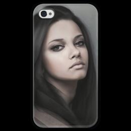 """Чехол для iPhone 4 глянцевый, с полной запечаткой """"Девушка"""" - девушка, girl, beauty"""