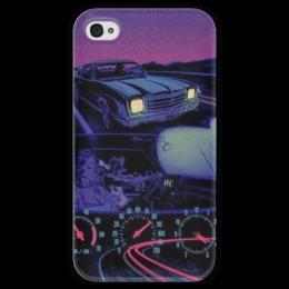 """Чехол для iPhone 4 глянцевый, с полной запечаткой """"Lets Ride"""" - night, driving, speed, speedometer, fast, автомобиль, скорость, ночь"""