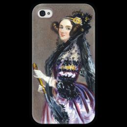 """Чехол для iPhone 4 глянцевый, с полной запечаткой """"Акварельный портрет Ады Лавлейс"""" - картина, шалон"""