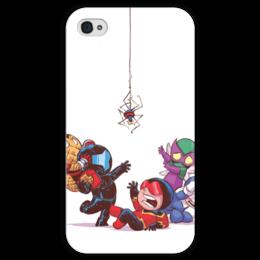 """Чехол для iPhone 4 глянцевый, с полной запечаткой """"Comics Art Series: Spider"""" - рисунок, супергерои, паук, superhero, spider"""