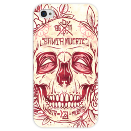 """Чехол для iPhone 4 глянцевый, с полной запечаткой """"Santa Muerte skull"""" - skull, череп, смерть, санта муерте"""
