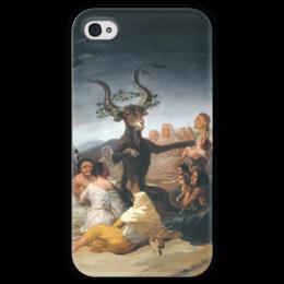 "Чехол для iPhone 4 глянцевый, с полной запечаткой ""Шабаш ведьм (Witches Sabbath)"" - картина, гойя"