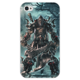 "Чехол для iPhone 4 глянцевый, с полной запечаткой ""Barbarian"" - blizzard, diablo, диабло, близзард, варвар"