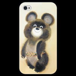 """Чехол для iPhone 4 глянцевый, с полной запечаткой """"Олимпийский мишка"""" - айфон, москва, олимпиада, сочи, олимпийский мишка, sochi, чехол на iphone, sochi 2014, сочи 2014, чехол с мишкой"""