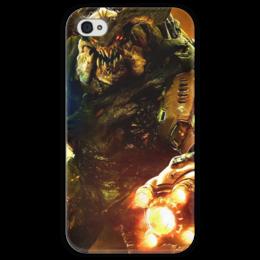 """Чехол для iPhone 4 глянцевый, с полной запечаткой """"Doom 4"""" - doom, шутер, дум, cyberdemon, кибер демон"""