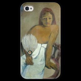 """Чехол для iPhone 4 глянцевый, с полной запечаткой """"Девушка с веером"""" - картина, поль гоген"""
