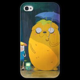 "Чехол для iPhone 4 глянцевый, с полной запечаткой ""Adventure Time"" - adventure time, время приключений, джейк, jake, finn"
