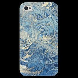 """Чехол для iPhone 4 глянцевый, с полной запечаткой """"Узоры """" - winter, зима, зимние узоры, frost"""