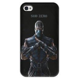 """Чехол для iPhone 4 глянцевый, с полной запечаткой """"Mortal Kombat X (Sub-Zero)"""" - воин, боец, mortal kombat, sub-zero"""