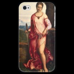 """Чехол для iPhone 4 глянцевый, с полной запечаткой """"Джудит с головой Олоферна (Джорджоне)"""" - картина, джорджоне"""