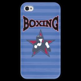 """Чехол для iPhone 4 глянцевый, с полной запечаткой """"Боксер"""" - звезда, надпись, полоска, бокс, боксер"""