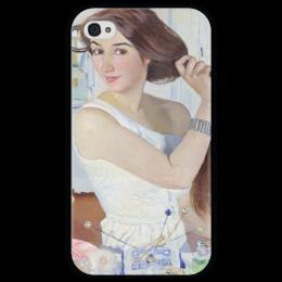 """Чехол для iPhone 4 глянцевый, с полной запечаткой """"За туалетом. Автопортрет"""" - картина, серебрякова"""