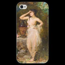 "Чехол для iPhone 4 глянцевый, с полной запечаткой ""Прекрасная купальщица"" - картина, зацка"