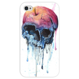 """Чехол для iPhone 4 глянцевый, с полной запечаткой """"Rotten apple"""" - skull, череп, акварель, яблоко"""