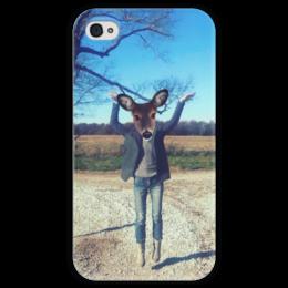 """Чехол для iPhone 4 глянцевый, с полной запечаткой """"Flying fawn"""" - олень, deer, олененок, flying fawn"""