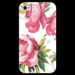 """Чехол для iPhone 4 глянцевый, с полной запечаткой """"Маленькие радости """" - арт, девушка, цветы, pink"""