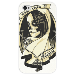 """Чехол для iPhone 4 глянцевый, с полной запечаткой """"Santa Muerte """" - skull, череп, девушка, смерть, санта муерте"""
