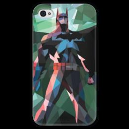 """Чехол для iPhone 4 глянцевый, с полной запечаткой """"Бэтмен"""" - comics, batman, бэтмен, dc, полигоны"""