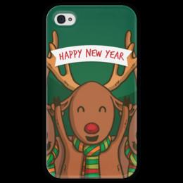 """Чехол для iPhone 4 глянцевый, с полной запечаткой """"С Новым годом!"""" - новый год, праздник, события, радость, гесс"""