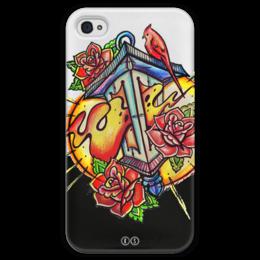 "Чехол для iPhone 4 глянцевый, с полной запечаткой ""lantern 4"" - цветы, огонь, птица, свет, розы, fire, фонарь, tm kiseleva"