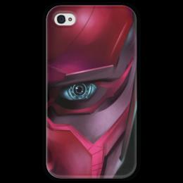 """Чехол для iPhone 4 глянцевый, с полной запечаткой """"Вижн (Vision)"""" - комиксы, мстители, марвел, эра альтрона"""