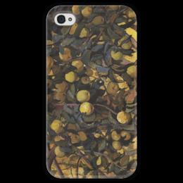 """Чехол для iPhone 4 глянцевый, с полной запечаткой """"Яблоки на ветках"""" - картина, серебрякова"""