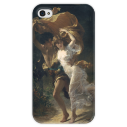 """Чехол для iPhone 4 глянцевый, с полной запечаткой """"Буря (Пьер Огюст Кот)"""" - кот, картина"""