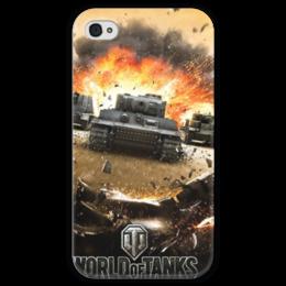 """Чехол для iPhone 4 глянцевый, с полной запечаткой """"World of Tanks"""" - компьютерная игра, мир танков, wot, tanks"""