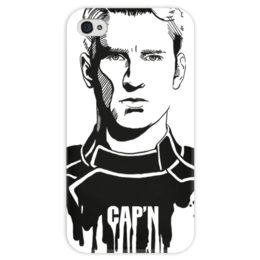 """Чехол для iPhone 4 глянцевый, с полной запечаткой """"Капитан Америка"""" - комиксы, кэп, мстители, марвел, captain america"""