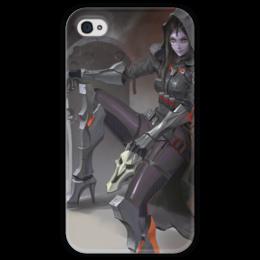 """Чехол для iPhone 4 глянцевый, с полной запечаткой """"Жнец """" - blizzard, близзард, overwatch, reaper, овервотч"""