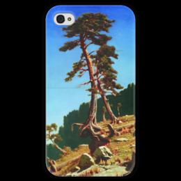 """Чехол для iPhone 4 глянцевый, с полной запечаткой """"Сосна (картина Архипа Куинджи)"""" - картина, архип куинджи"""