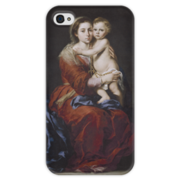 "Чехол для iPhone 4 глянцевый, с полной запечаткой ""Мадонна с чётками"" - картина, мурильо"