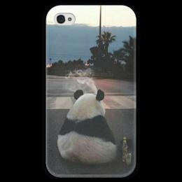 """Чехол для iPhone 4 глянцевый, с полной запечаткой """"Панда"""" - мысли, панда, одиночество, грусть, тоска"""