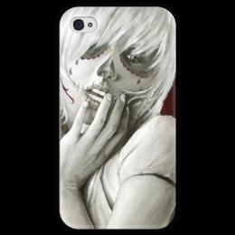 """Чехол для iPhone 4 глянцевый, с полной запечаткой """"Skull girl"""" - череп, девушка, смерть, санта муерте, santa muerte"""