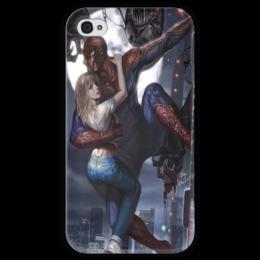 """Чехол для iPhone 4 глянцевый, с полной запечаткой """"SpiderMan"""" - арт, comics, комикс, комиксы, marvel, человек паук, superhero"""