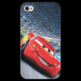 """Чехол для iPhone 4 глянцевый, с полной запечаткой """"Тачки"""" - мультфильм, дисней, машина, тачки, молния"""
