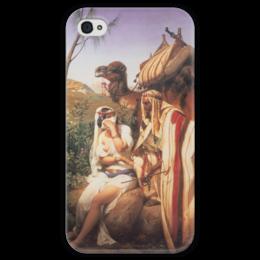 """Чехол для iPhone 4 глянцевый, с полной запечаткой """"Иуда и Фамарь (Орас Верне)"""" - картина, верне, библия"""