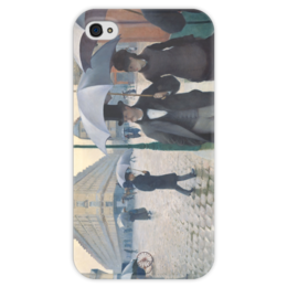 """Чехол для iPhone 4 глянцевый, с полной запечаткой """"Парижская улица в дождливую погоду"""" - картина, кайботт"""