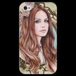 """Чехол для iPhone 4 глянцевый, с полной запечаткой """"Lana Del Rey """" - арт, lana del rey, лана дель рей"""