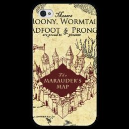 """Чехол для iPhone 4 глянцевый, с полной запечаткой """"Карта мародеров"""" - harry potter, гарри поттер, карта мародеров"""
