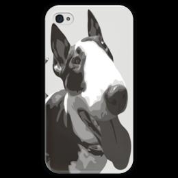 """Чехол для iPhone 4 глянцевый, с полной запечаткой """"Бультерьер"""" - собака, бультерьер, bull terrier"""
