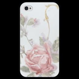 """Чехол для iPhone 4 глянцевый, с полной запечаткой """"Светлая роза"""" - белый, роза, рисунок, девушке, акварель"""