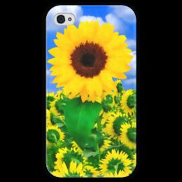 """Чехол для iPhone 4 глянцевый, с полной запечаткой """"Подсолнух"""" - лето, цветок, небо, облака, подсолнух"""