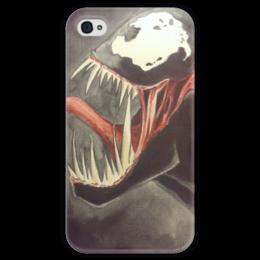 """Чехол для iPhone 4 глянцевый, с полной запечаткой """"Venom"""" - comics, venom, marvel, веном"""