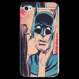 """Чехол для iPhone 4 глянцевый, с полной запечаткой """"Bat ShOOOking"""" - comics, комикс, ретро, batman, kiss, поцелуй, бэтмен, dc"""