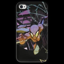 """Чехол для iPhone 4 глянцевый, с полной запечаткой """"Человек-паук (Spider-man)"""" - комиксы, spider man, марвел, человек-паук, питер паркер"""
