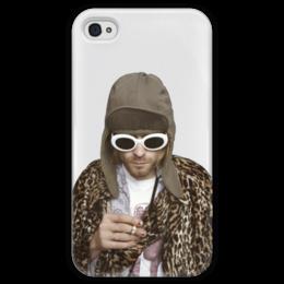 """Чехол для iPhone 4 глянцевый, с полной запечаткой """"Nirvana Kurt Cobain """" - гранж, nirvana, kurt cobain, курт кобейн, нирвана"""