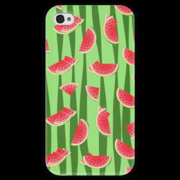 """Чехол для iPhone 4 глянцевый, с полной запечаткой """"Арбуз"""" - полоска, красный, ягода, зеленый, семена"""