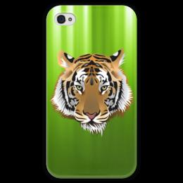 """Чехол для iPhone 4 глянцевый, с полной запечаткой """"Взгляд тигра"""" - рисунок, взгляд, тигр, джунгли"""